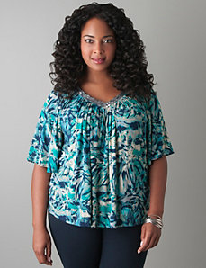 Embellished drama sleeve top by LANE BRYANT