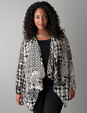 Mixed houndstooth sheer overpiece by Lane Bryant