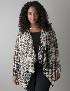 Mixed houndstooth sheer overpiece