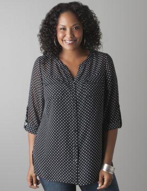 Sheer polka dot blouse