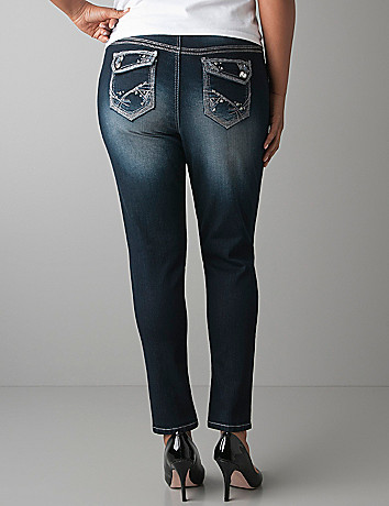 Plus Size Embellished Ankle Jeans by Lane Bryant