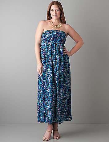 Smocked chiffon maxi dress by Lane Bryant