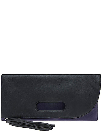 Fold over colorblock clutch by Lane Bryant