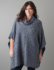 Plus Size Marled Poncho by Lane Bryant