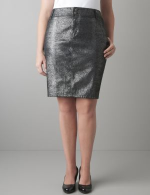 Sparkle denim pencil skirt