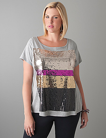 Plus Size Sequin Tee by Lane Bryant