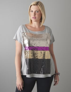 Placed sequin tee
