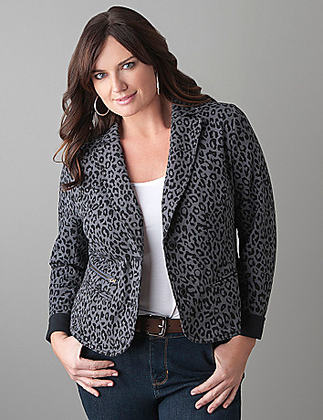 Plus Size Leopard Blazer by Lane Bryant