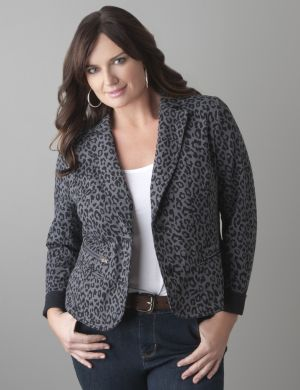 Leopard print French terry jacket