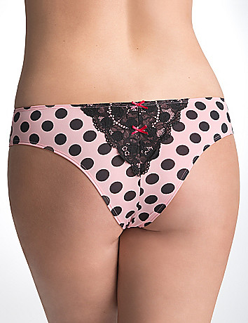 Lace back polka dot tanga panty by Cacique