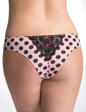 Lace back polka dot tanga panty