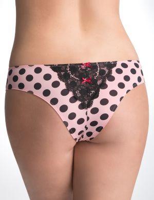 Lace back polka dot tanga panty