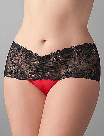 Full Figure Satin & Lace Crotchless Thong Panty