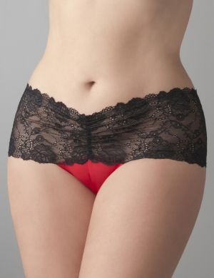 Satin & lace crotchless thong panty