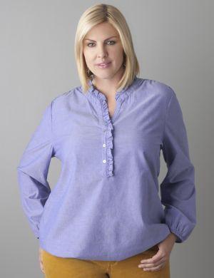 Ruffle placket chambray shirt