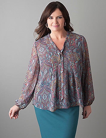 Plus Size Pintuck Paisley Blouse