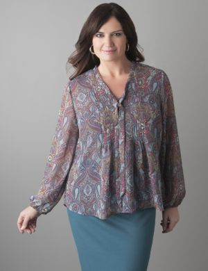 Pintuck paisley blouse