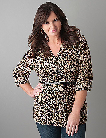 Plus Size Sheer Cheetah Blouse by Lane Bryant