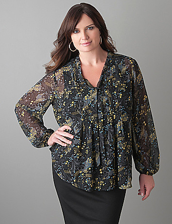 Plus Size Paisley Pintuck Blouse by Lane Bryant