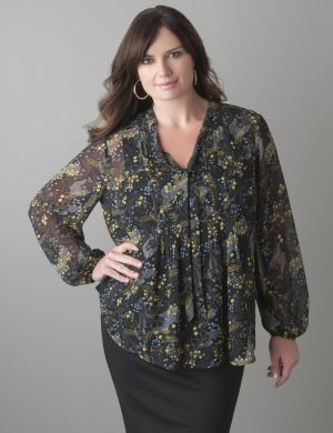Branches print pintuck blouse