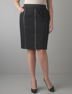Faux leather seamed pencil skirt