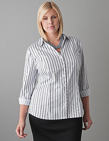 Full Figure Sparkle Stripe Cotton Sateen Shirt