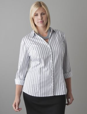 Metallic stripe cotton sateen shirt