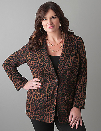 Ponte animal print jacket by Lane Bryant