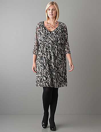 Plus Size Feather Print Dress by Lane Bryant