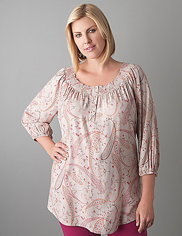 Plus Size Paisley Peasant Tunic by Lane Bryant