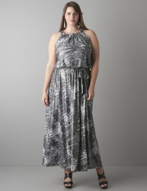 Shimmering snake maxi dress