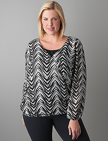 Plus Size Zebra Print Surplice Top