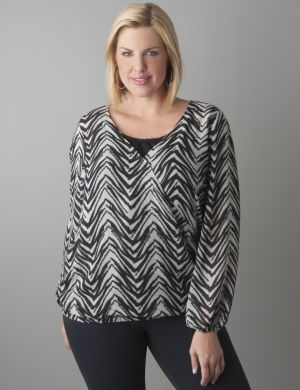 Zebra print surplice top