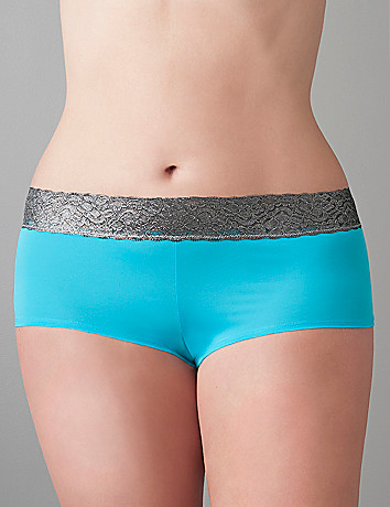 Plus Size Boyshort with Metallic Lace by Cacique