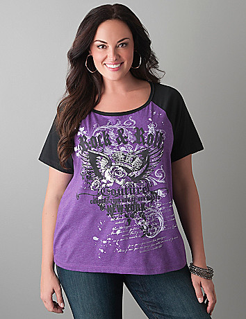 Rock & Roll baseball tee by Lane Bryant