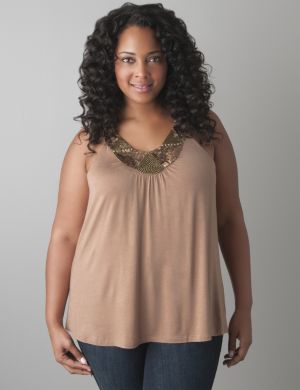Sequin scoop neck tank