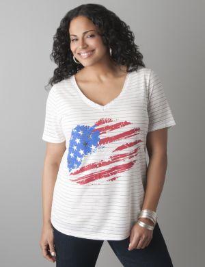 American flag glitter tee
