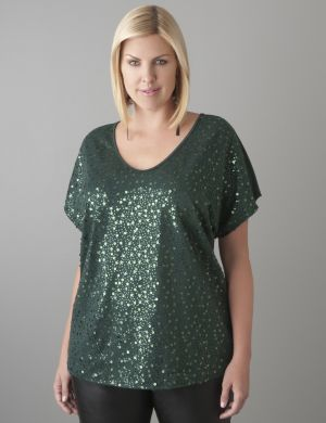 Sequin wedge tee