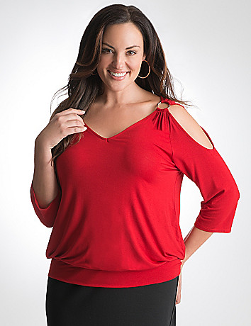 Plus Size Cold Shoulder Top by Lane Bryant