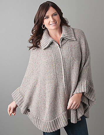 Plus Size Zip Front Poncho by Lane Bryant