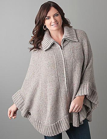 Plus Size Zip Front Poncho by Lane Bryant