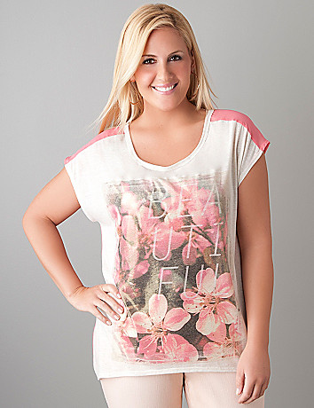 Plus Sized Chiffon Back Floral Tee by Lane Bryant