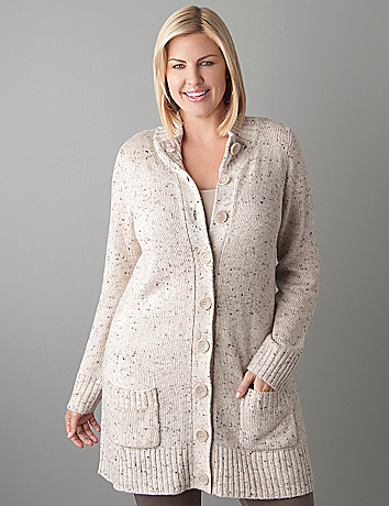 Plus Size Button Front Sweater Coat by Lane Bryant