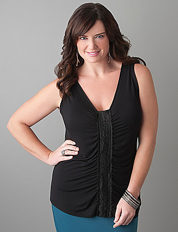 Plus Size Shirred Lace Tank by Lane Bryant