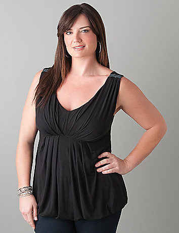 Embellished bubble hem tank by Lane Bryant