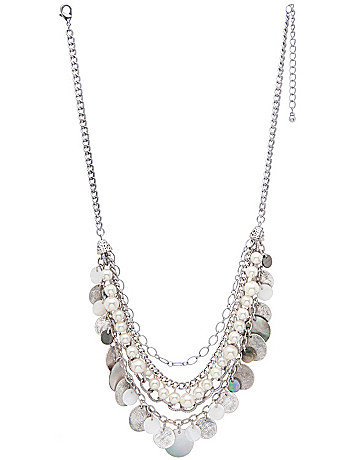 Pearl & disc nested necklace by Lane Bryant