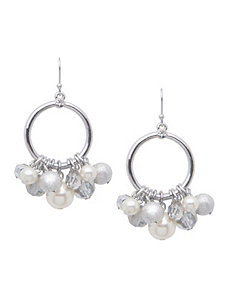 Pearl cluster hoop earrings by Lane Bryant