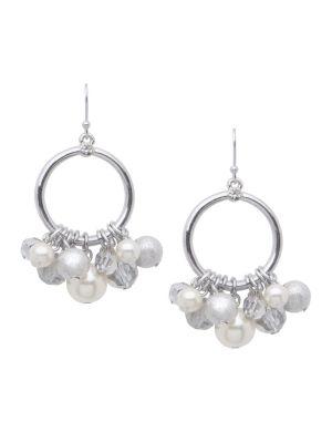 Pearl cluster hoop earrings by Lane Bryant