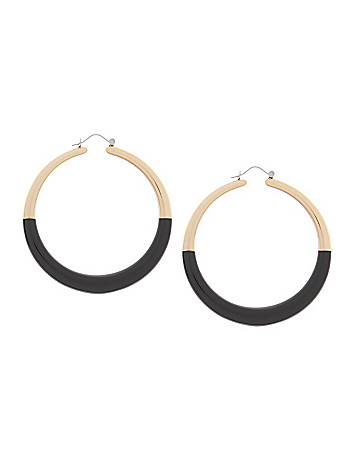Black & gold hoop earrings by Lane Bryant
