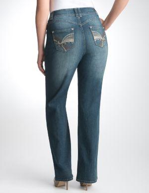 Embellished slim boot jean